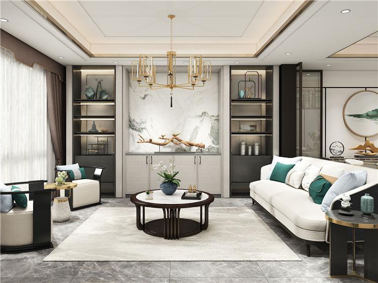 怡翠尊堤全屋家具定制:客厅设计效果图